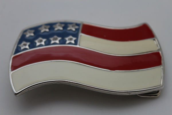 Silver Metal 3D USA Flag United States Belt Buckle New Men Cowboy Western Fashion Accessories