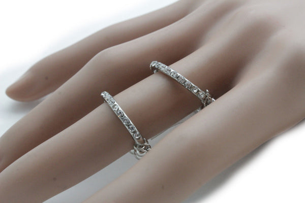 Silver Gold Band Elastic Short Chain Rhinestones Plate Double Ring New Women Unique Accessories
