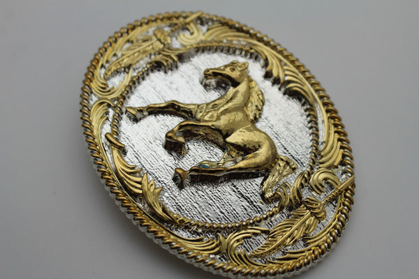 Silver Metal Belt Buckle Gold Rodeo Horse Bling Oval Shape New Men Western Accessories
