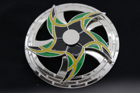 Silver Metal Round Shape Spinning Arrow Star Brazil Flag Belt Buckle New Men Women Accessories