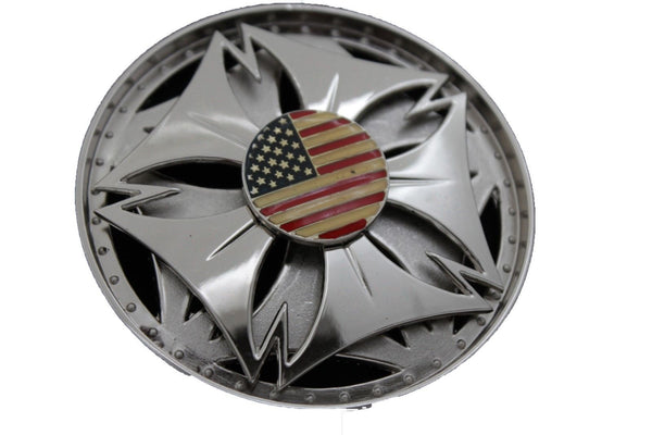 Silver Metal Spinning Round Shape American Flag USA Belt Buckle Men Women Accessories