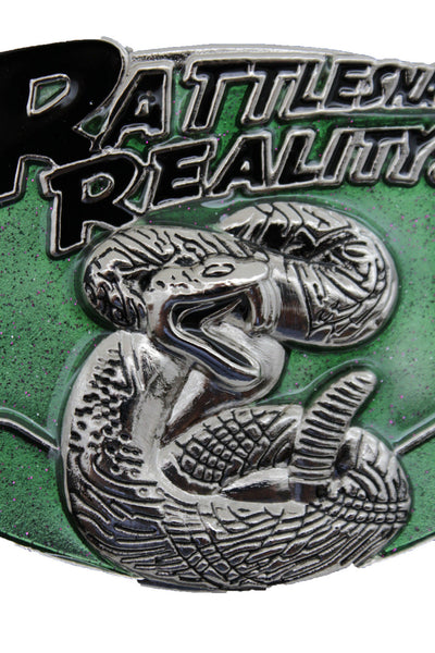 Silver Metal large Snake Reality Green Square Belt Buckle Biker Punk Style Men Women Accessories