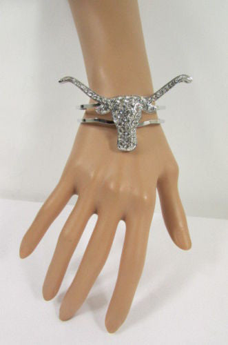 Silver Metal Cuff Bracelet Big Bull Horns Multi Rhinestones New Women Fashion Jewelry Accessories - alwaystyle4you - 4