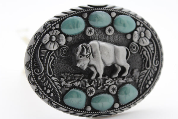 Silver Metal Bison Buffalo Ox Bling Turquoise Oval Belt Buckle New Men Women Cowboy Accessories
