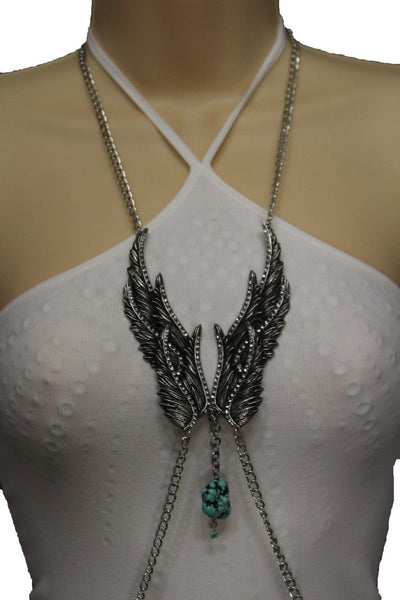 Silver Metal Body Chain Angel Wing Harness Turquoise Long Necklace New Women Jewelry Accessories