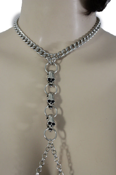 Silver Metal Body Chain Harness Necklace Skeleton Skulls New Women Fashion Jewelry Accessories