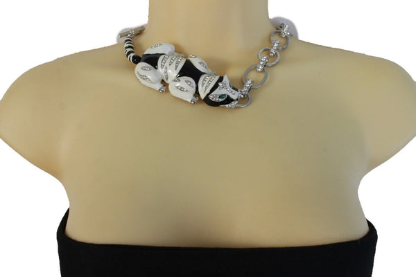 Silver Metal Body Chain Links Lying Dog Short Necklace New Women Jewelry Fashion Accessories