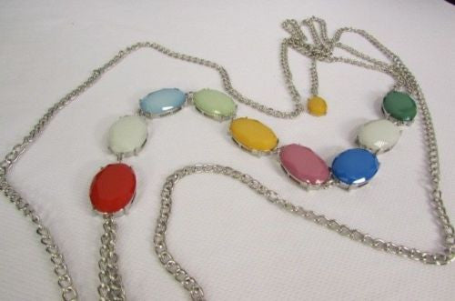 Silver Metal Body Chain Long Necklace Big Colorfull Beads New Women Fashion Accessories