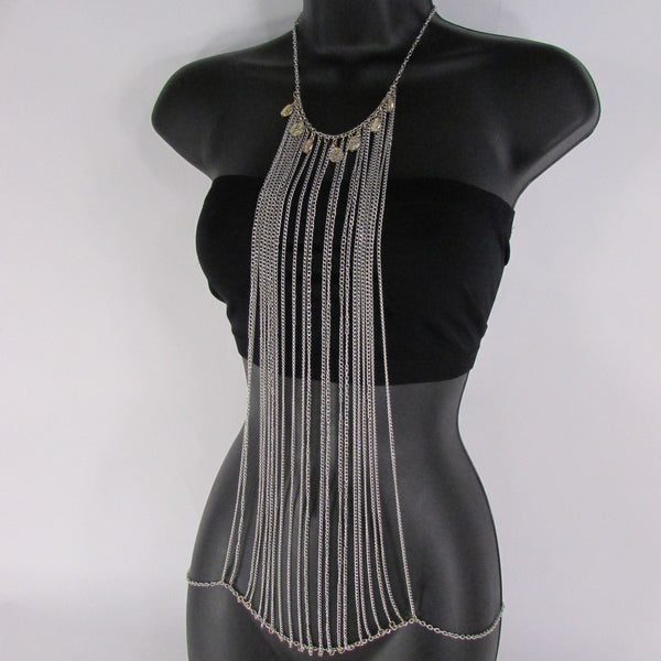 Silver Metal Body Chains Frontal Multi Coins Long Necklace New Women Jewelry Accessories