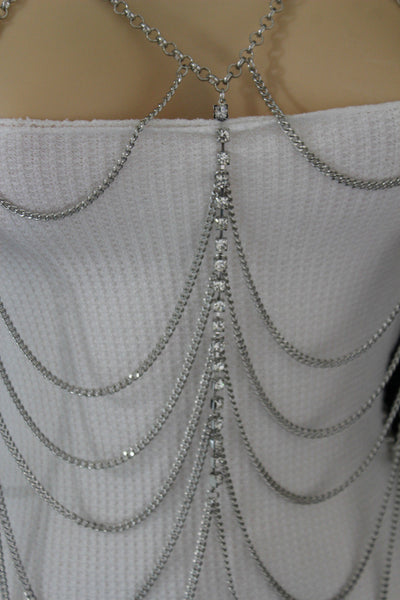 Silver Metal Body Chains Waves Rhinestone Hot Harness Necklace New Women Fashion Jewelry Accessories