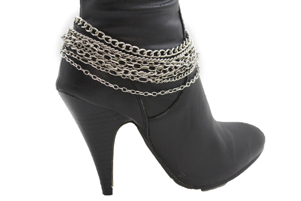 Silver Gold Metal Boot Chain Bracelet Multi Chains Anklet Shoe Charm Women Accessories