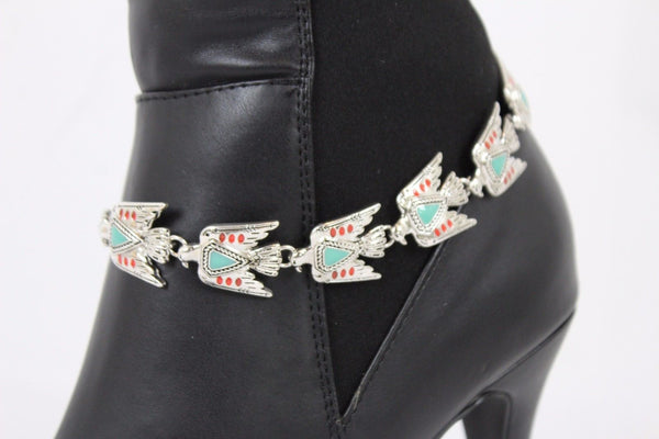 Silver Metal Boot Chain Bracelet Charm Bling Native American Eagle Women Accessories