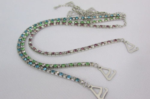 Silver Metal Bra Straps Decorative Lingerie Green Blue Pink Rhinestones New Women Accessories