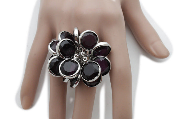 Silver Metal Brown Or Black Beads Big Flower Knuckle One Size Band Ring Women Jewelry Accessories
