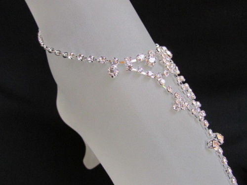 Silver Metal Casual Anklet Foot Chain Body Jewelry Mini Rhinestones New Women Accessories