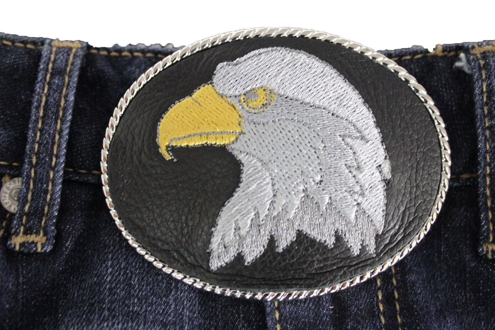 LARGE WESTERN EAGLE HEAD BELT BUCKLE METAL GREY 3D HIGH DETAIL AMERICAN