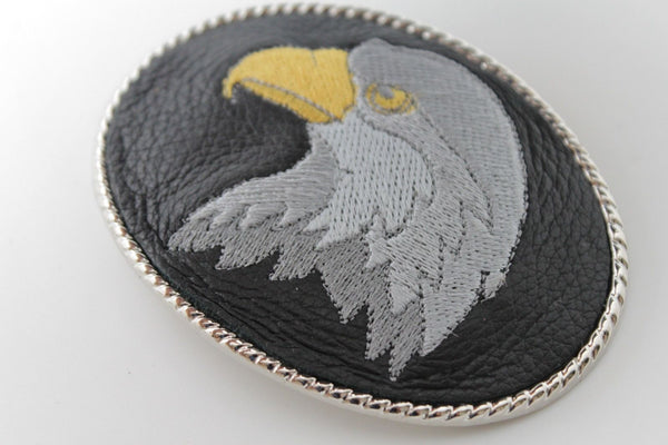 Silver Metal Casual Black Leather American Big Eagle Head Belt Buckle Western New Unisex Accessories