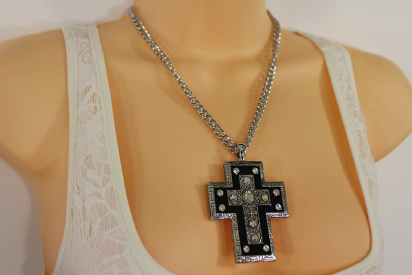 Silver Metal Chain Big Rhinestones Cross Pendant Long Necklace New Women Fashion Accessories