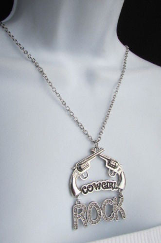 "Silver Metal Chain Rock Cowgirl Rock Hand Gun 18"" Long Necklace New Women Western Fashion Jewelry Accessories"