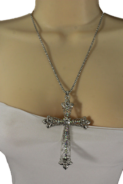 Silver Metal Chain Large Cross Bless Rhinestones Pendant Necklace New Women Fashion Accessories