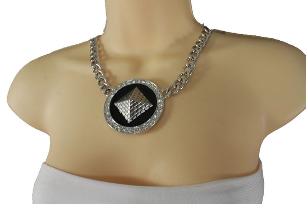 Silver Metal Chain Links Egyptian Pyramid Building Travel Trip Necklace Women Accessories