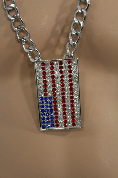 Silver Metal Chain Links Long Necklace USA American Flag Pendant 3D Men Accessories