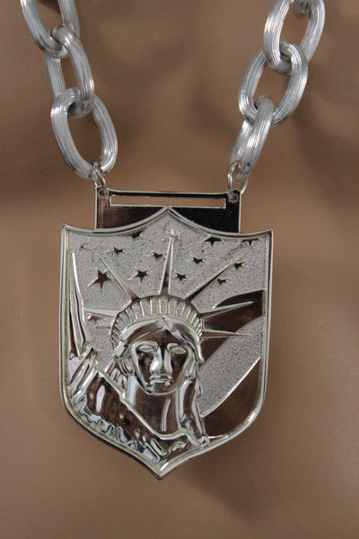 Metal Chain Links USA Statue Liberty Pendant Long Thick Necklace Hip New Men Accessories