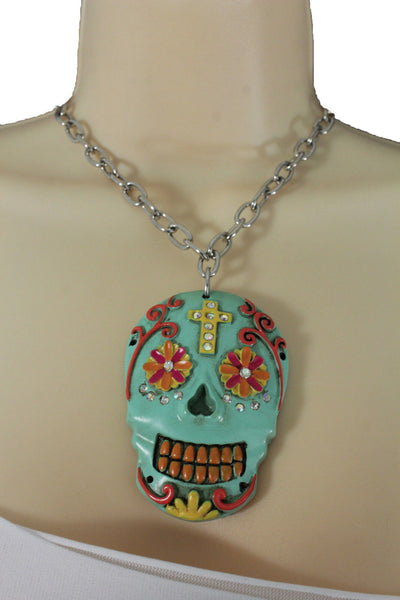 Silver Metal Chain Long Necklace Day Of The Dead Skull New Women Fashion Jewelry Accessories