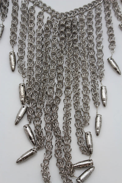 "Gold Silver Metal Chain Multi Gun ""Bullet"" Long Necklace Earring Set Women Accessories"