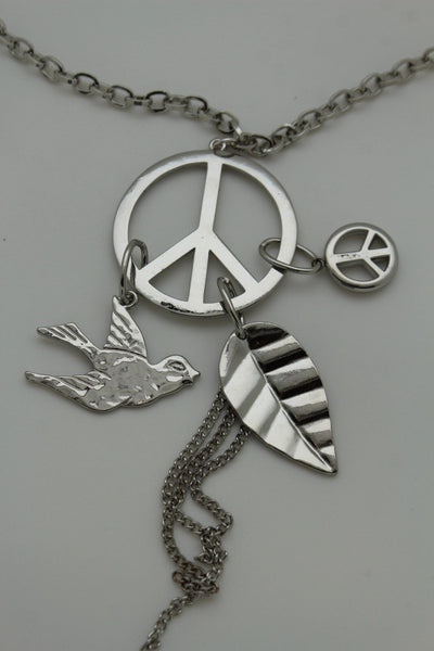 Silver Metal Chain Peace Sign Bird Leaf Charms Love Long Necklace New Women Fashion Accessories