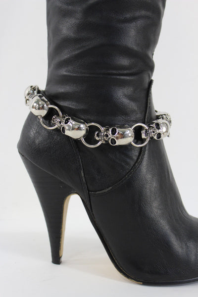 Silver Metal Chain Skeleton Skull Pirate Anklet Shoe Charm Boot Bracelet Women Accessories