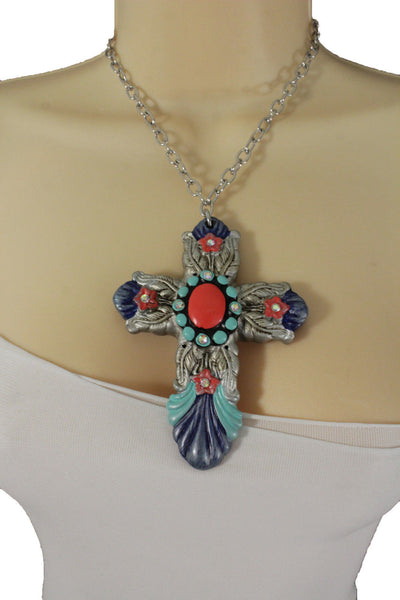 Silver Metal Chains Big Cross Pendant Charm Necklace New Women Fashion Jewelry Accessories