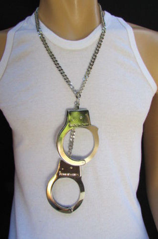 Silver Metal Chains Big Handcuff Necklace Chunky Pendant New Men Fashion Accessories