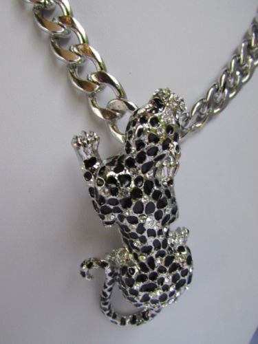 Silver Metal Chains Big Tiger Leopard Cheetah Body Trendy Necklace New Women Fashion Accessories