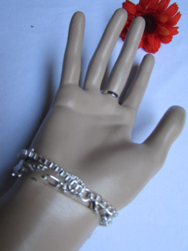 Silver Metal Chains Bracelet Slave Ring  Big Cross & 2 Small Charms Cross New Women Accessories