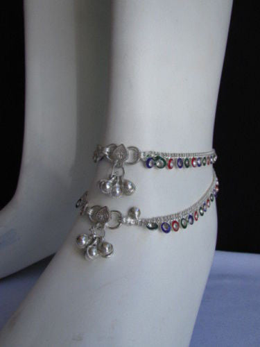 Silver Metal Chains Foot Rhinestones 2 Rows Charm Anklet Women Fashion Jewelry Accessories
