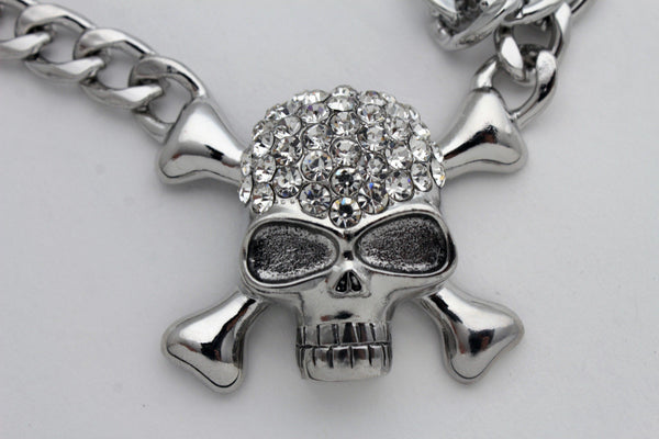 Silver Metal Chains Skeleton Skulls Pirate Charm Pendant Necklace New Women Fashion Accessories
