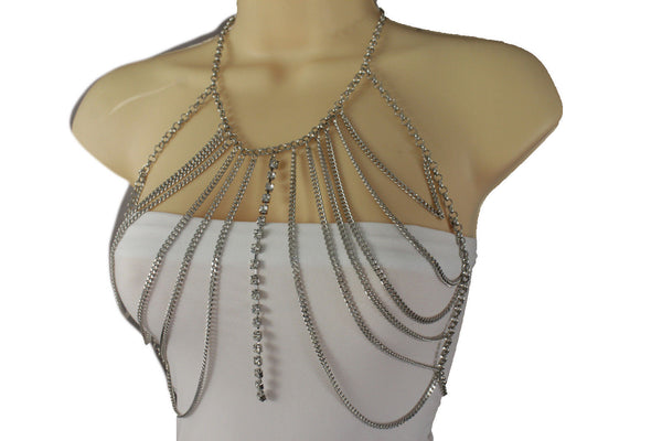 Silver Metal Chains Top Body Bra Multi Rhinestones Long Necklace New Women Fashion Jewelry Accessories