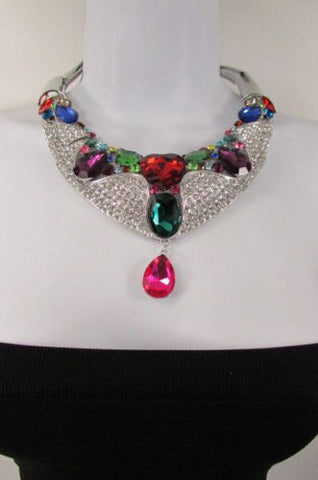 Silver Metal Choker Colorful Multi Big Rhinestones Alloy Charm Bib Necklace Earrings Set New Women Fashion Accessories