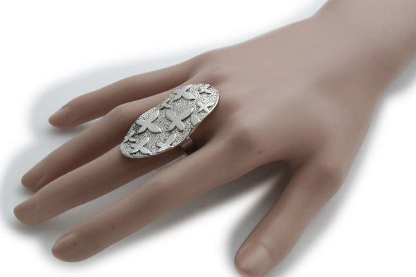 Silver Metal Cross Flowers Long Oval Shape Ring Fashionable Elegant Jewelry New Women Accessories