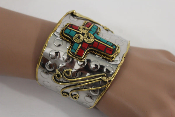 Silver Metal Cuff Bracelet Big Cross Blue Red Gold New Women Fashion Jewelry Accessories - alwaystyle4you - 3