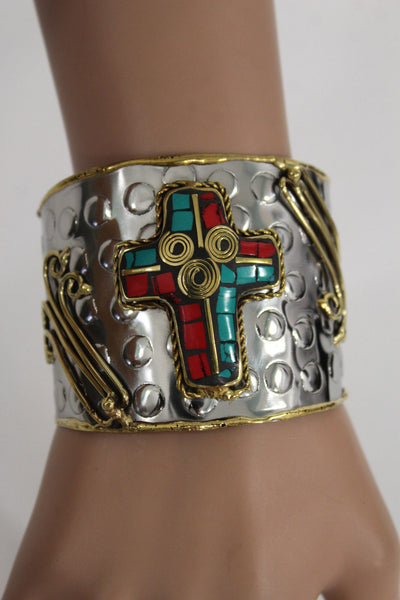 Silver Metal Cuff Bracelet Big Cross Blue Red Gold New Women Fashion Jewelry Accessories - alwaystyle4you - 6