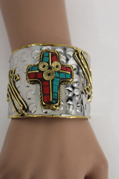 Silver Metal Cuff Bracelet Big Cross Blue Red Gold New Women Fashion Jewelry Accessories