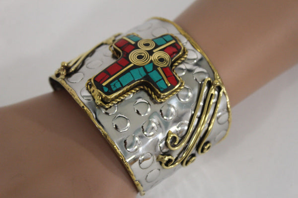 Silver Metal Cuff Bracelet Big Cross Blue Red Gold New Women Fashion Jewelry Accessories - alwaystyle4you - 11