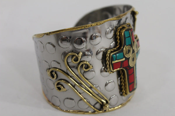 Silver Metal Cuff Bracelet Big Cross Blue Red Gold New Women Fashion Jewelry Accessories - alwaystyle4you - 12