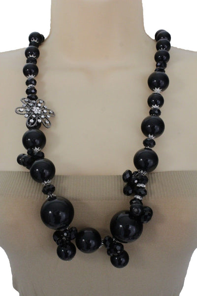 Silver Metal Flower Charm Big Black Gray Imitation Pearl Bead Long Necklace New Women Accessories