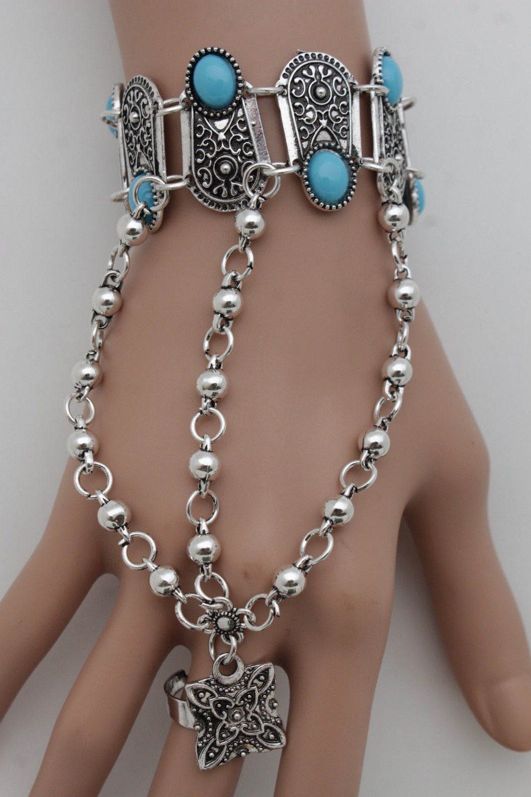 Silver Metal Hand Bracelet Slave Ring Turquoise Blue Beads Ethnic