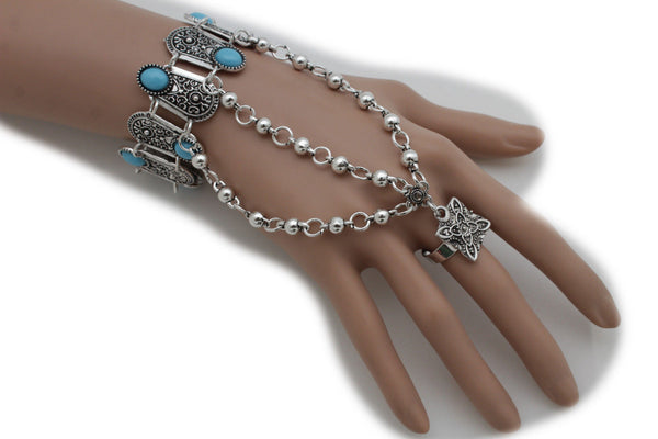 Silver Metal Hand Bracelet Slave Ring Turquoise Blue Beads Ethnic Moroccan Women Accessories