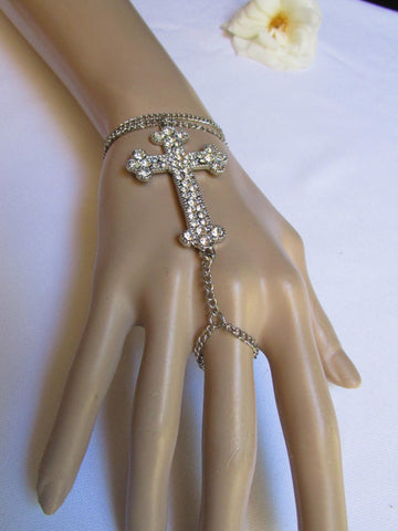 Silver Gold Metal Hand Chain Bracelet Slave Ring Big Cross Rhinestones New Women Fashion Accessories