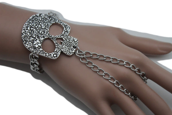 Silver Metal Bracelet Slave Ring Skeleton Skull Charm Halloween New Women Accessories